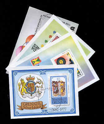 Grenada: 4 Souvenir Sheets, Stamps,  Silver Jubilee First Day Cancelled