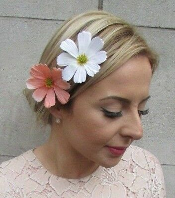 2 x White Peach Daisy Flower Hair Clips Bridesmaid Fascinator Festival Boho 5236