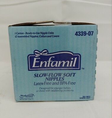 Enfamil Slow Flow Soft Nipples Assembled Nipples Collars Covers Case of 12