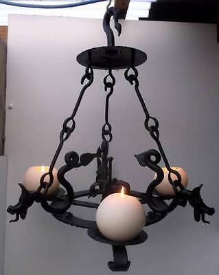 Amazing French Wrought Iron 3 Branch Gothic Dragon Ceiling Candle Lamp Light