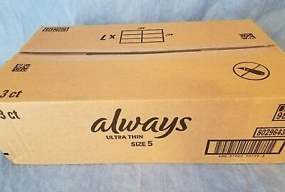 Case 108 Always Size 5 Ultra Thin Menstrual Pads Heavy Overnight (36 3ct boxes)