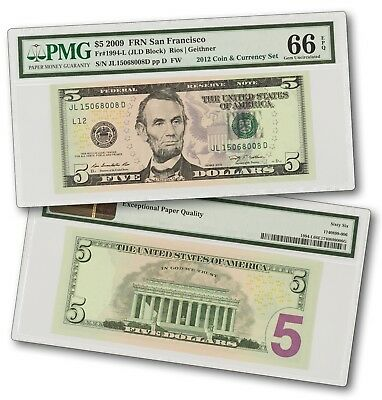 2009 $5 Federal Reserve Note From 2012 Coin & Currency Set  - PMG 66 EPQ