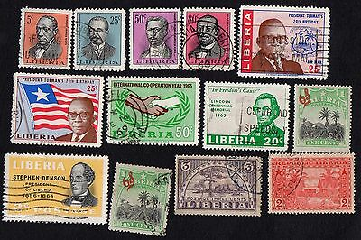 Liberia stamps. Accumulation of 13 mid-period stamps. Cancelled