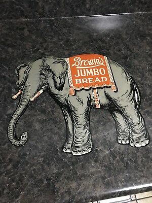 NOS Original Diecut Tin Elephant Brown's Jumbo Bread Sign Defiance Ohio
