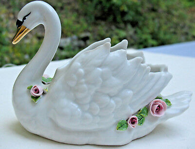 Vintage Dresden Swan Planter Vase Small Capodimonte Pink Roses GOLD Bill Trinket