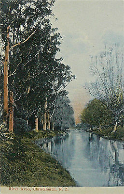 POSTCARDS.NEW ZEALAND.RIVER AVON CHRISTCHURCH.HAND COLOURED.VERY EARLY 1900's