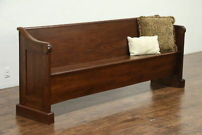 Country Pine & Walnut Carved 1860's Antique Pew or Hall Bench