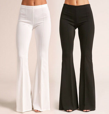 S-3X Womens High Waist Flare Dressy Pants Bell Bottoms Stretch Long Black White