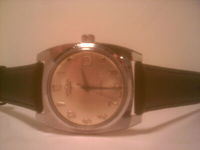 Vintage Vulcain Swiss Winding Men,s 17 Jewel Watch With Date With Leather Strap,