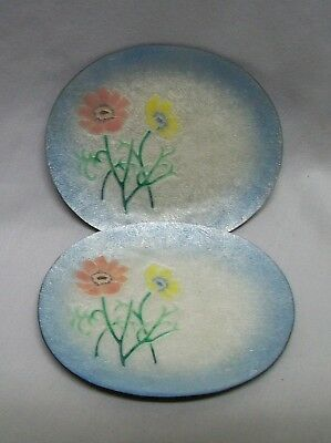 Stunning Pair Ando Cloisonne Silver Wire Flower Tray Dish Dishes Japan Vintage