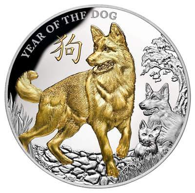 YEAR OF THE DOG - GOLD PLATED - 2018 $8 5 oz Pure Silver Coin - NIUE