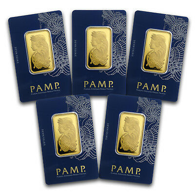 Bank Wire. 1 oz Gold Bar PAMP Suisse Lady Fortuna Veriscan Assay - Lot of 5