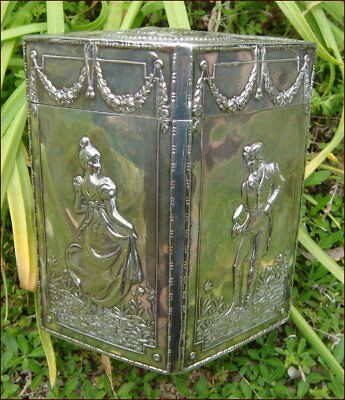 Antique Art Nouveau Tea Caddy Box Hanau Neresheimer Sterling Silver Chester 1905