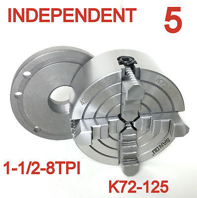 """1pc Lathe Chuck 5"""" 4Jaw Independent Jaw w/Back Plate 1-1/2""""-8TPI  K72-125 sct"""