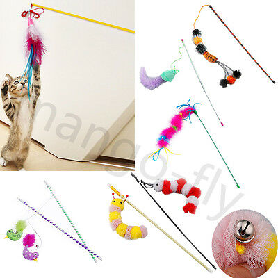 Funny Cat Kitten Pet Teaser Feather Wire Chaser Wand Interactive Play Toys
