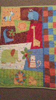 handmade baby quilt with jungle animals