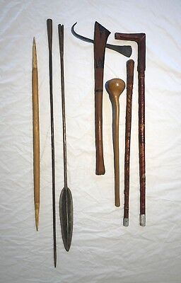 RARE 5 MAASAI Gems - Spear Sword Cane Club Hunting Weapon Africa MASAI