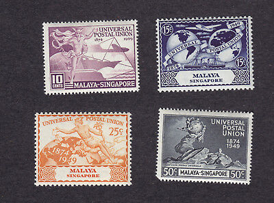 Singapore stamps - complete MNH set of 4 - 1949 - Scott #23-26 - UPU Series !!