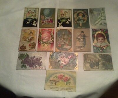 MISC. LOT of 14 VINTAGE EMBOSSED POST CARDS GERMANY 1902-1912