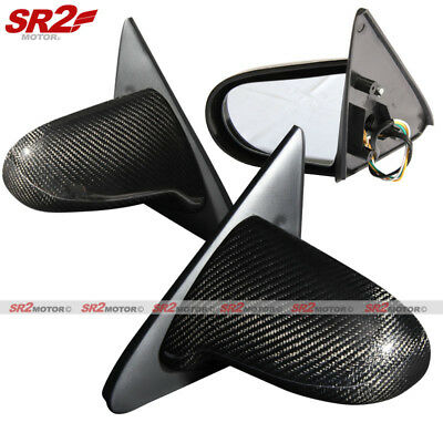 Real Carbon Fiber Spoon Style Power Adjust Side Mirrors fits 96-00 Civic EK