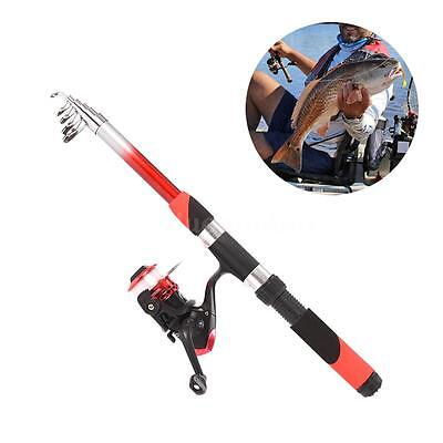 2.1m Sea Fishing Telescopic Rod Reel Set Baits Hooks Bag Kit Spinning Reel New