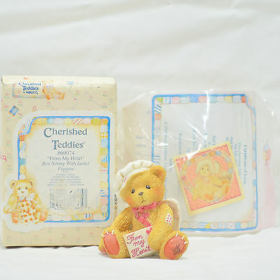 """Enesco Cherished Teddies """"From My Heart"""" Boy Sitting with Letter - #569074"""