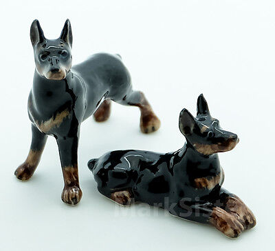 Figurine Animal Ceramic Statue 2 Doberman Pinscher Dog - CDG084