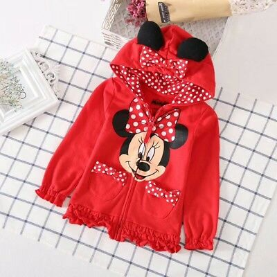Disney Minnie Mouse Little Girls Zip up Hoodie with attached ears and bow 2T3T4T