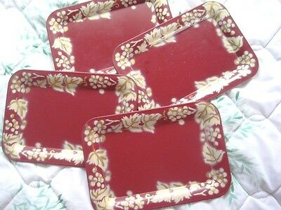 Lot of 4 Vintage Shabby French Country Maroon Floral Tole Dresser Jewelry Trays