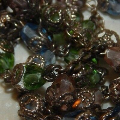 vintage rosary faceted capped bead rainbow colorful antique crystal glass cross