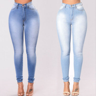 Pencil Jeans Women Stretch Casual Denim Skinny Pants High Waist Trousers New