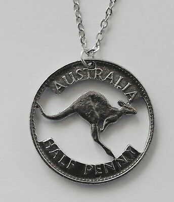 Chain Necklace #199 PEWTER Cut Out HALF PENNY COIN (25mm) Double sided Aussie