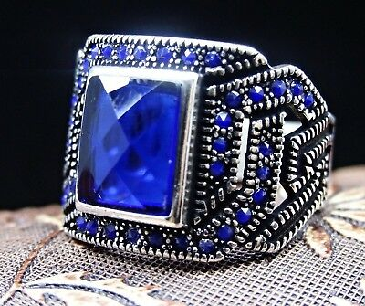 Turkish 925 sterling silver blue sapphire stone mens ring sz 10 us FREE RESIZE