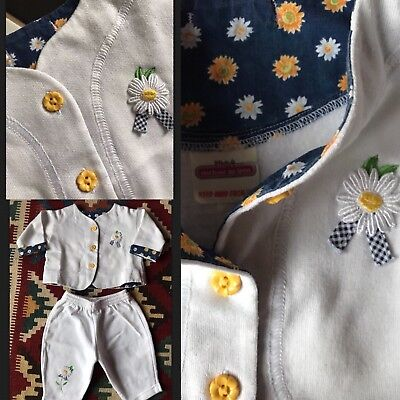 Original Vintage 80's French Embroidered Daisy Flower Baby Girl Outfit 3M