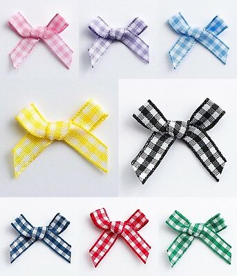 Pack 1, 10, 25 or 100 Miniature 3cm Pre Tied Gingham 6mm Ribbon Bows