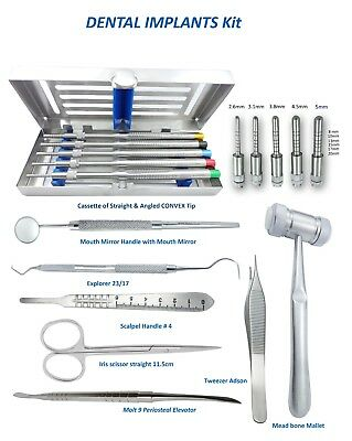 Dental Surgical implant Kit Osteotomes Convex, bone Mallet, Periosteal Elevator
