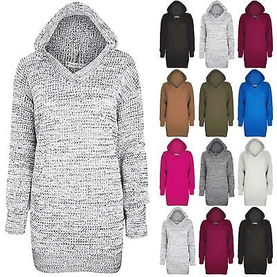 Womens Oversize Baggy Hood Hooded Ladies Plain Chunky Knitted Dress Tunic Jumper