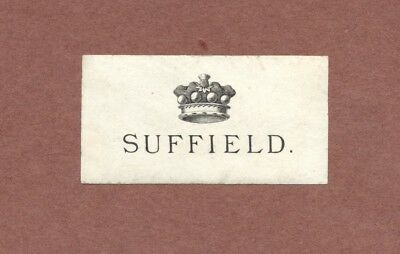 Bookplate      Baron Suffield       Coronet     Victorian era           RK1006