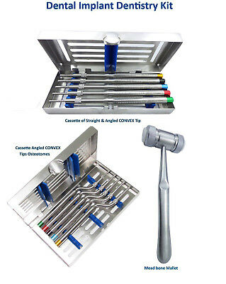 Dental Implant Dentistry Kit Osteotomes Convex & Angled , Needle Holder, Mallet