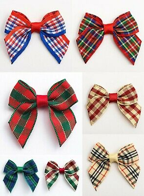 Tartan Bows - 4cm Pre Tied 15mm Check Ribbon 1, 6 or 12 Pack Wedding Cards Craft
