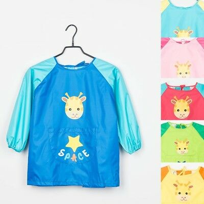 Kids Long Sleeve Eat Apron Cooking Drawing Painting Apron Waterproof Children