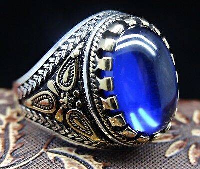 Turkish 925 sterling silver blue sapphire stone mens ring sz 12 us FREE RESIZE