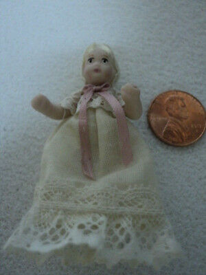 Dollhouse Porcelain Doll - Baby In Gown W/ Blonde Hair
