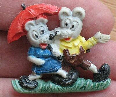 Russian Mouse Umbrella Pin Button Badge Kid Child Soviet Children Mice Figurine