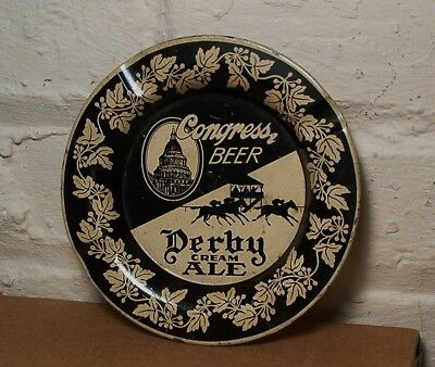 Vintage Congress Beer Horse Derby Ale Tin Litho Advertising Tray Ashtray Sign