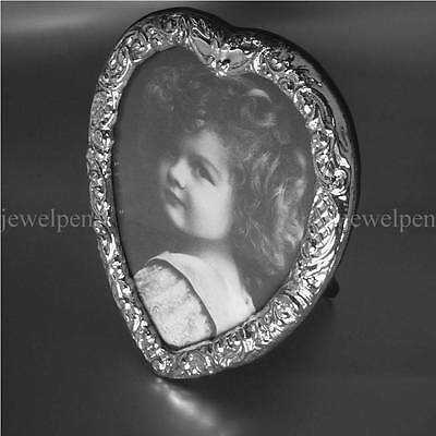 Very Fine Hallmarked Heart Shaped 925 Sterling Frame Victorian Antique Finish