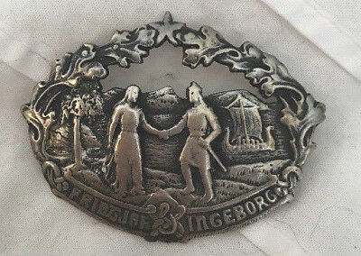 Antique Vintage Norway 830S Silver Large Rare Brooch Historical