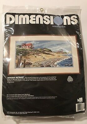 Vintage Hard to Find Dimensions Needlepoint Kit 2368 SEASIDE RETREAT NEW IN PACK