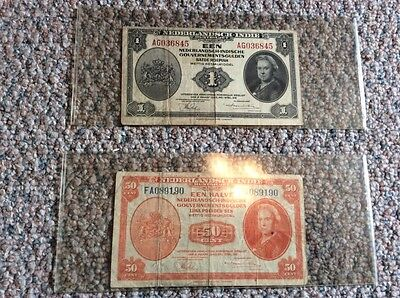 WWII Banknotes Netherlands, Budapest, Belgium and a 1953 Coin 7 in all