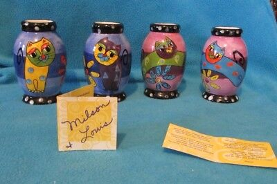 """Milson & Louis set of 4 cute Colorful Cats hand painted 4"""" bud vases NIB"""